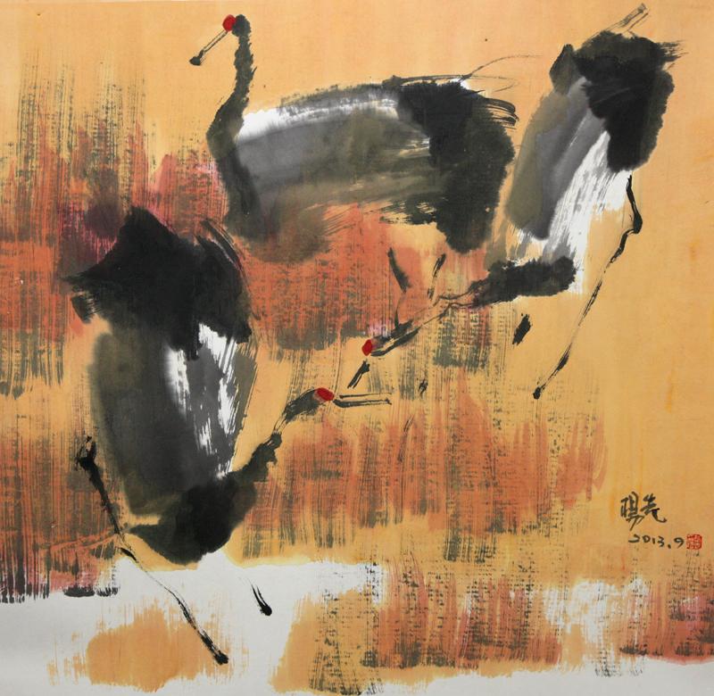 看惯松鹤延年,看惯梅妻鹤子,再看杨先那一笔取色自然,还形