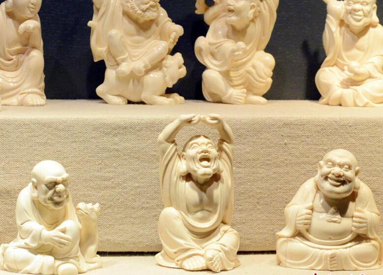 """罕见猛犸象牙雕刻作品《十八罗汉》现福州"""""""
