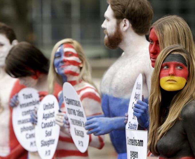 """动物保护者在美国身涂国旗彩绘 抗议加拿大猎杀海豹"""""""